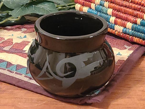 Native American Navajo Bowl Vase -Black on Black