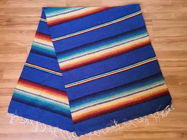 Mexican Serape Style Rio Bravo Blanket -Royal Blue