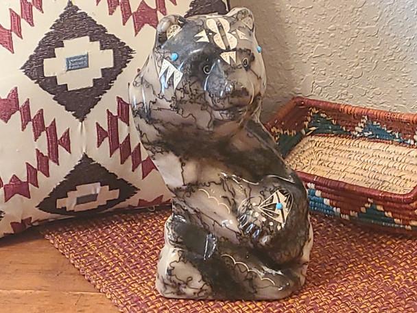 Navajo Horse Hair Pottery Sculpture - Bear