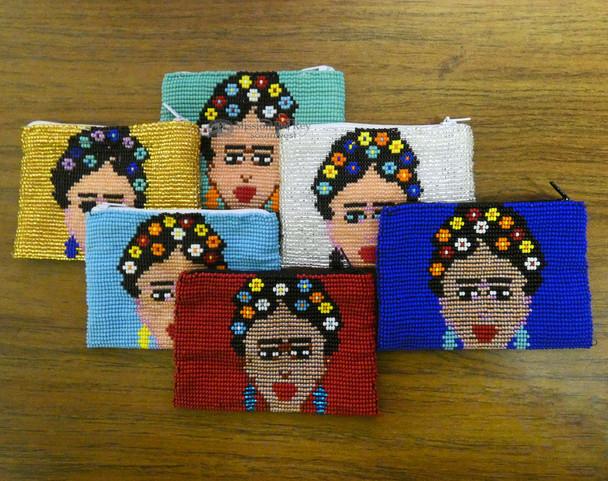 Seed Bead Coin Purse -Assorted  Frieda Kahlo