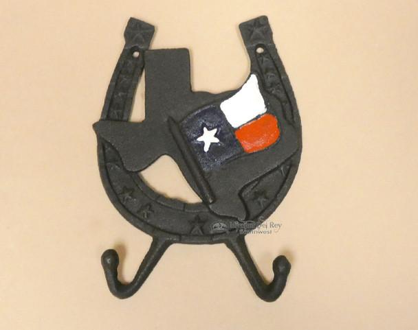 Cast Iron Metal Horseshoe & Texas State Wall Hook
