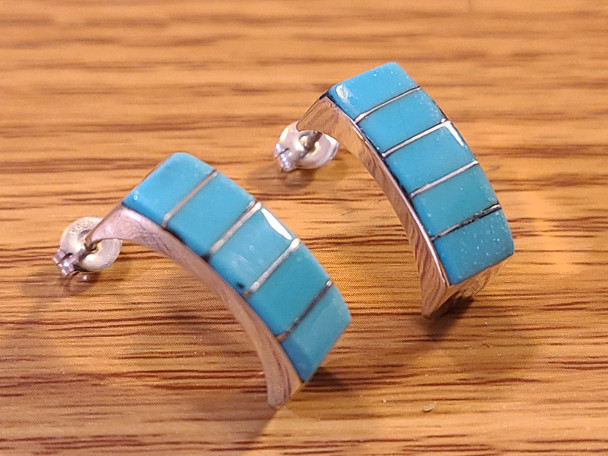 Zuni Indian Silver & Inlaid Turquoise Earrings