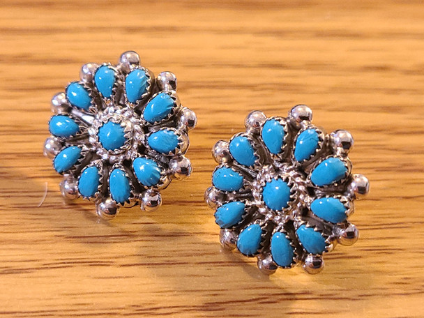 Native American Silver & Turquoise Earrings -Flowers