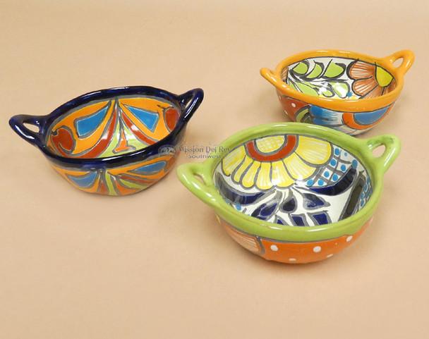 Hand Painted Mexican Talavera Salsa Bowls w/ Handles