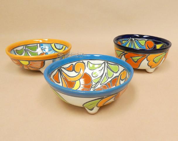 Hand Painted Mexican Talavera Footed Bowls