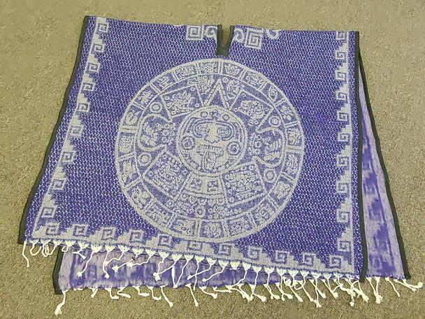 Blanket Poncho -Purple Mayan Calendar