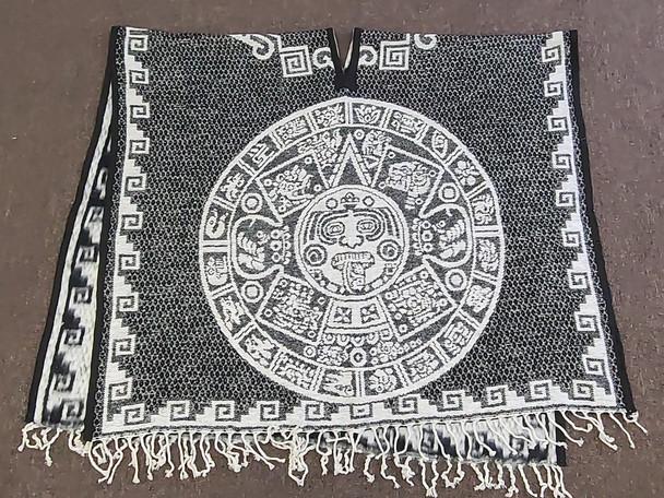 Blanket Poncho -Black Mayan Calendar