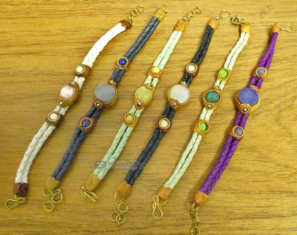 Assorted Stone Bead Braided Leather Bracelets