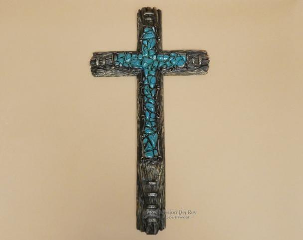 Wood & Turquoise Style Cross