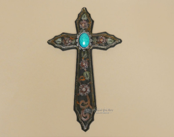 Floral Wall Cross w/ Turquoise Accent