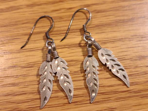 Sterling Silver Earrings -Feathers