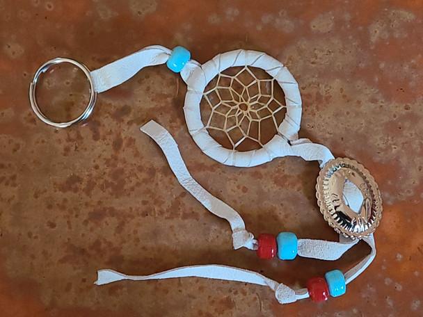 Navajo Concho Dreamcatcher Key Chain -White