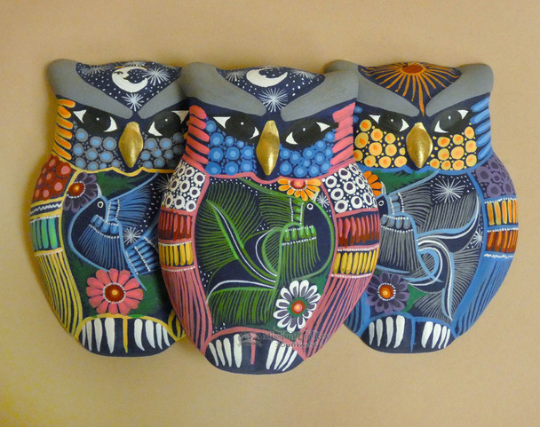 Assorted Matte Hand Painted Wall Owls