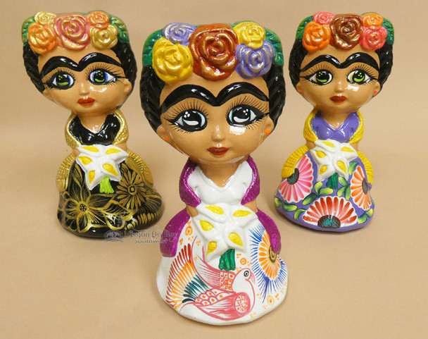 Hand Painted Clay Pottery Frida Kahlo Statues