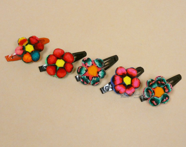 Assorted Peruvian Pom-Pom Flower Hairclips