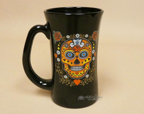 El Paso Sugar Skull Glass Mug -Black