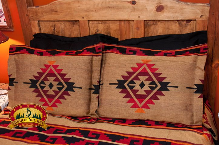 Black Southwest Pillow Sham with Yavapai
