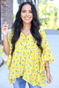 Yellow - Floral Button Up Blouse
