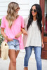 Ivory - and Neon Pink Knit Tops