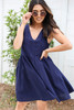 Navy - Ruffle Sleeve Babydoll Dress Front View