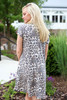 Model wearing Leopard Short Sleeve T-Shirt Dress Back View