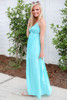 Model wearing Mint Crochet Maxi Dress Side View