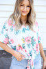 Ivory - Tropical Print Tie-Front Tee Detail View