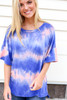 Model wearing Pink and Blue Oversized Tie-Dye Tee Front View