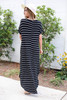 Model wearing Black and White Striped T-Shirt Maxi Back View