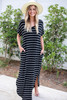 Model wearing Black and White Striped T-Shirt Maxi