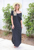 Model wearing Black and White Striped T-Shirt Maxi Off the Shoulder