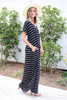 Black - and White Striped T-Shirt Maxi Side View