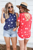 Navy - and Red Star Print Cross Back Top