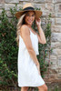 Model wearing White Sleeveless Crochet Lace Dress Side View