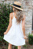 Model wearing White Sleeveless Crochet Lace Dress Back View