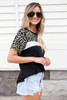 Olive - Leopard Print Color Block Tee Side View