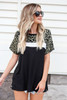 Model wearing Olive Leopard Print Color Block Tee Front View