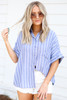 Navy - and White Striped Button Up Blouse