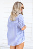 Navy - and White Striped Button Up Blouse Back View