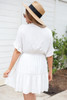 Model wearing White Crochet Ruffle Sleeve Boho Dress Back View