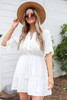 Model wearing White Crochet Ruffle Sleeve Boho Dress