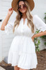White - Crochet Ruffle Sleeve Boho Dress