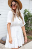 White - Crochet Ruffle Sleeve Boho Dress Side View