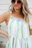 Model wearing Mint Printed Drawstring Ruffle Tank Front View