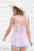 Model wearing Blue and Pink Printed Smocked Tank Back View