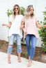 White - and Taupe Exposed Stitch Tees
