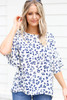 White - and Blue Leopard Print Ruffle Sleeve Top