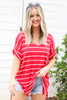 Red - Oversized Striped Tee Tucked In  Front View