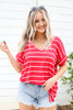 Red - Oversized Striped Tee Tucked In