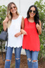 White - and Red Scalloped Hem Tank Top